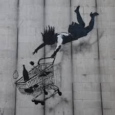 "Grafiti Banksy  ""Shop until you drop"""