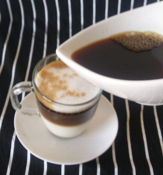 Taza de leche con café